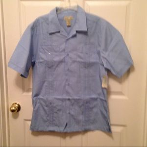 Men's Trader Bay Guayabera Top Sz M NWT